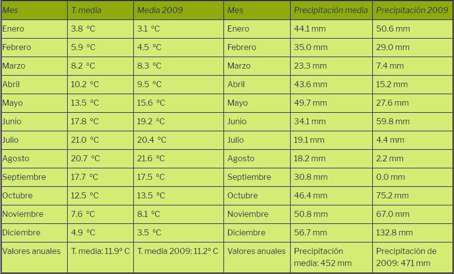 Temperaturas y precipitaciones del año 2009